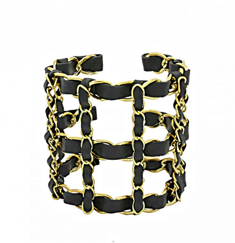 Yellow Gold Plated Black Michèle Cuff