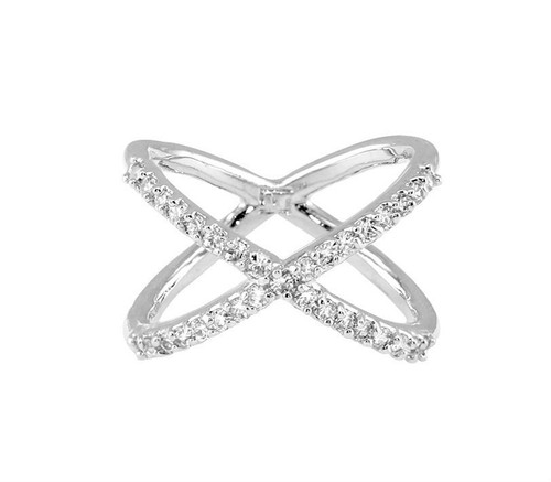 Rhodium Plated X Ring