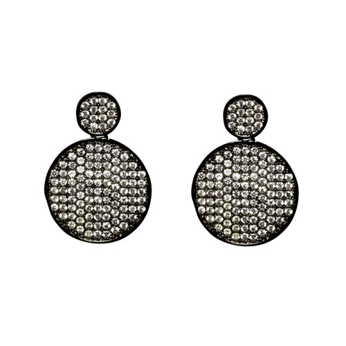 Gunmetal Plated Small Micro Pave Disc Drop Earrings