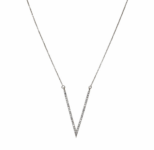 Rhodium Plated Micro Pave Large V Necklace