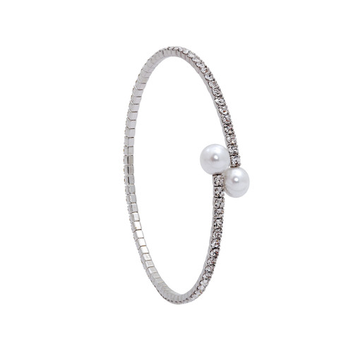 Rhodium Plated 1 Line Crystal Wrap Bracelet with Small Pearls