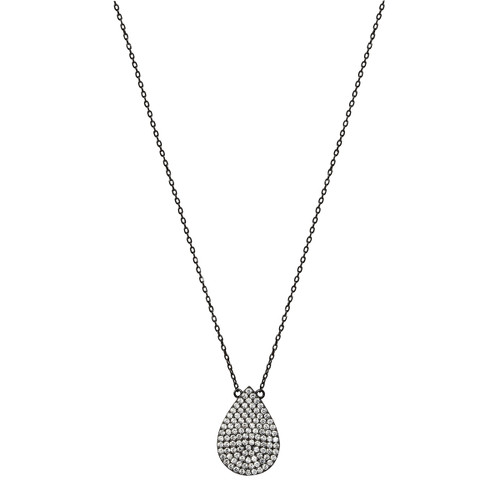 Gunmetal Plated Micro Pave Teardrop Pendant Necklace