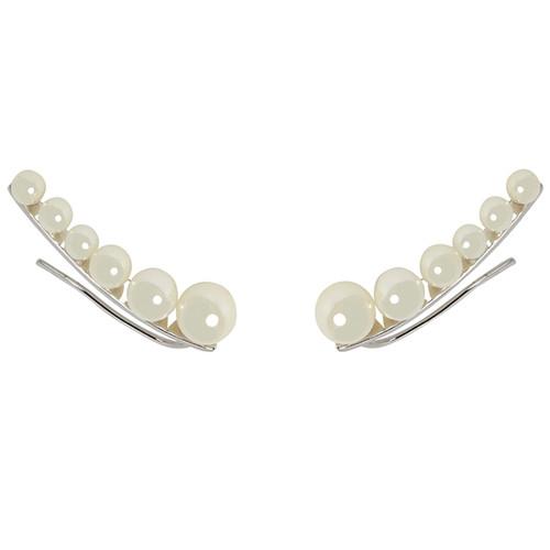 Rhodium Plated Graduated Pearl Earring Cuff