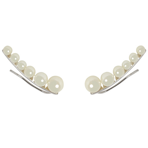 Rhodium Plated Graduated Pearl Earring Cuff