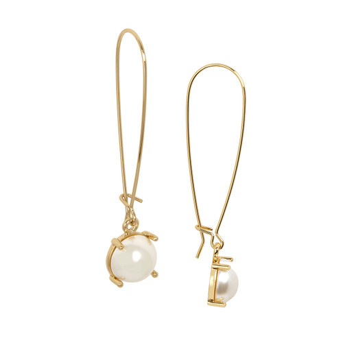 Yellow Gold Plated Pearl Wire Drop Earrings