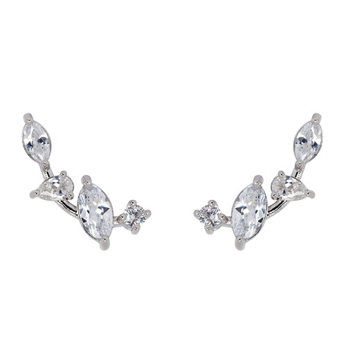 Rhodium Plated Mini Marquise Cluster Ear Cuff