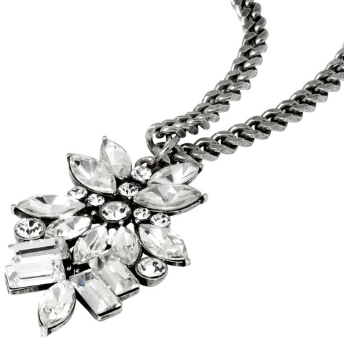 Antique Rhodium Plated Monaco Necklace Close Up Detail