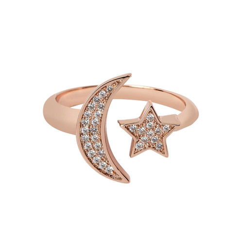 Rose Gold Plated Micro Pave Moon & Star Ring