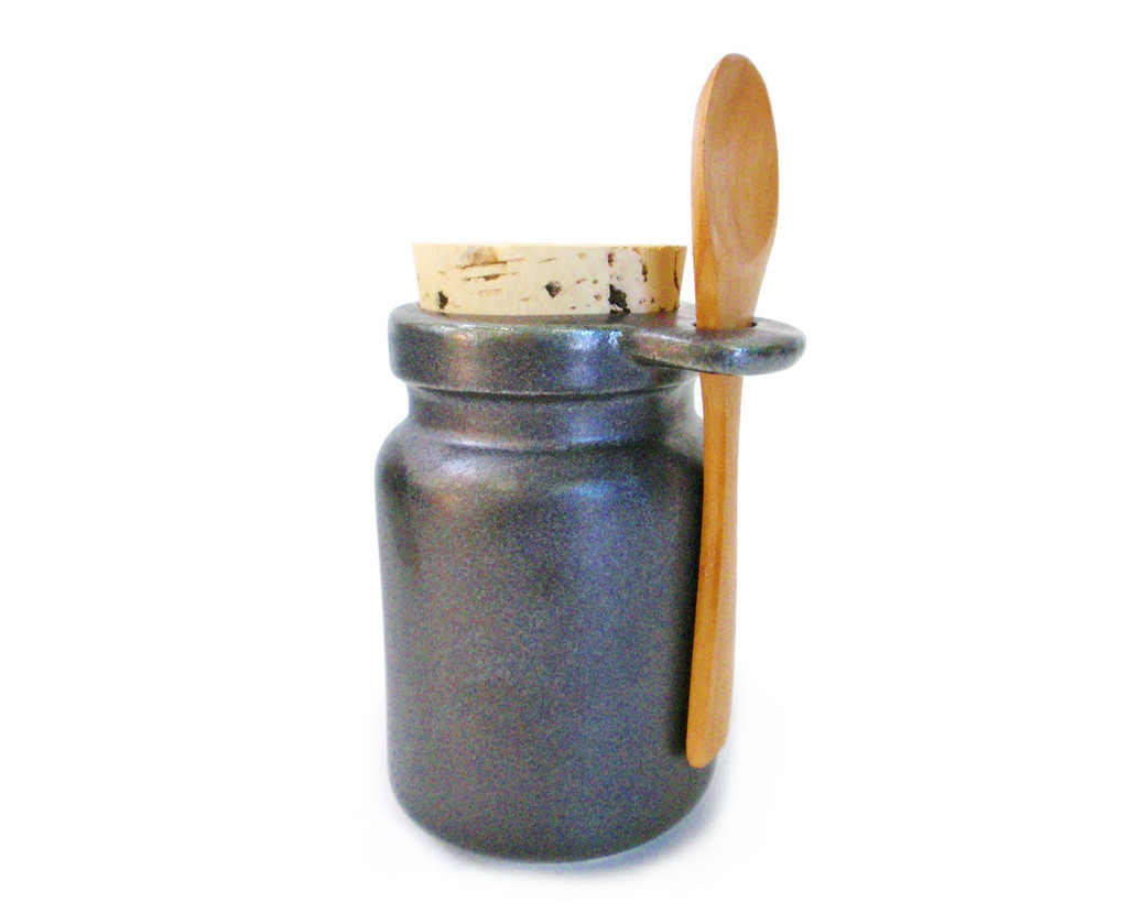 Matte Black salt jar includes a wooden spoon, a food-grade cork stopper