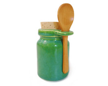 Apple Green storage jar includes a wooden spoon, a food-grade cork stopper (This color also goes great with our Sonoma Harvest Nasal Pot)