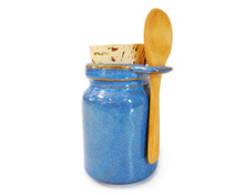 Blue storage jar includes a wooden spoon, a food-grade cork stopper. (This color also goes great with our Blue Burst Nasal Pot)