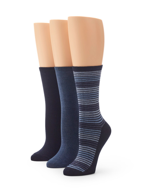 Flat Knit Striped Crew Sock 3 Pair Pack