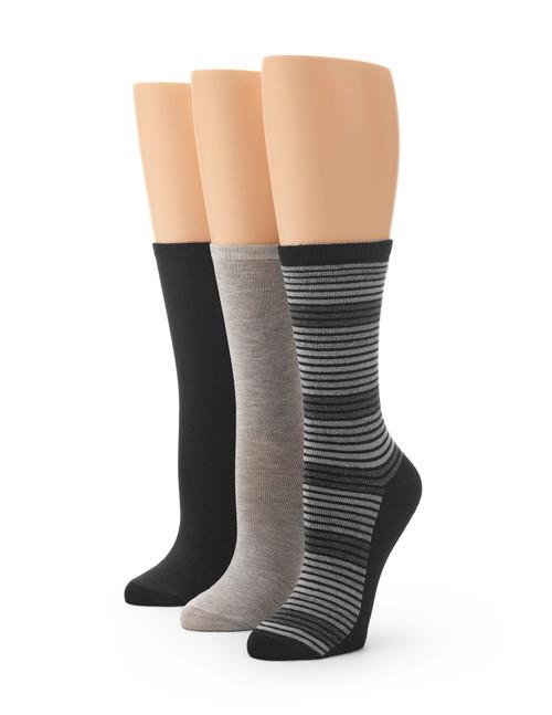Flat Knit Striped Crew Sock 3 Pair Pack