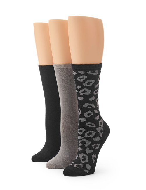 Flat Knit Leopard Crew Sock 3 Pair Pack