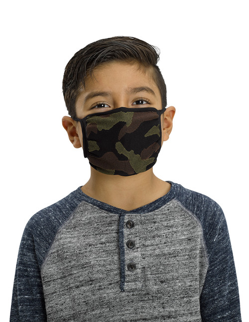 Youth 2pk Face Mask, Multi Color Camo