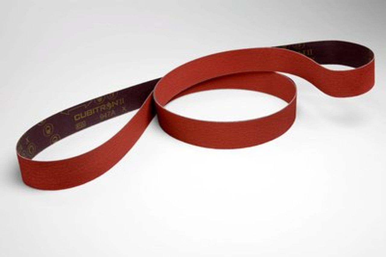 3M™ Cubitron™ ll Cloth Belt 947A, 80+ X-weight, 1/4 in x 24 in, Fabri-lok, Single-flex