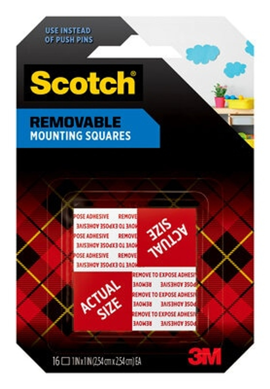 Scotch® Removable Double-Sided Mounting Squares 108S-SQ-16, 1 in x 1 in (2.54 cm x 2.54 cm)