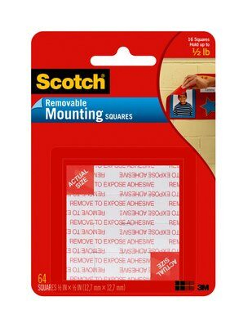Scotch® Foam Mounting Squares 108-SML, 1/2 in x 1/2 in (12,7 mm x 12,7 mm) Removable, 64 Squares