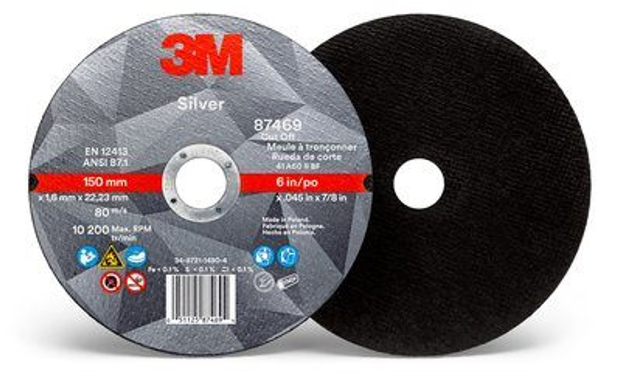 3M™ Silver Cut-Off Wheel 87458, T1, 3 in x .035 in x 3/8 in, 25  50 per case