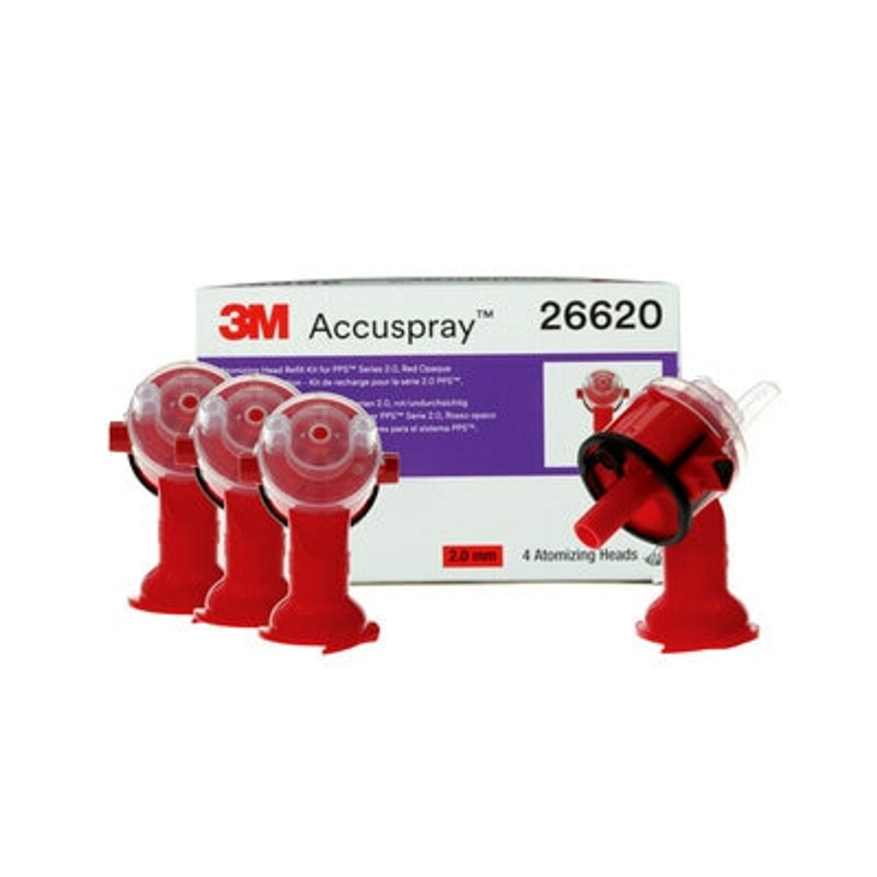 3M™ Accuspray™ Atomizing Head Refill Pack for 3M™ PPS™ Series 2.0, 26620, Red, 2.0 mm