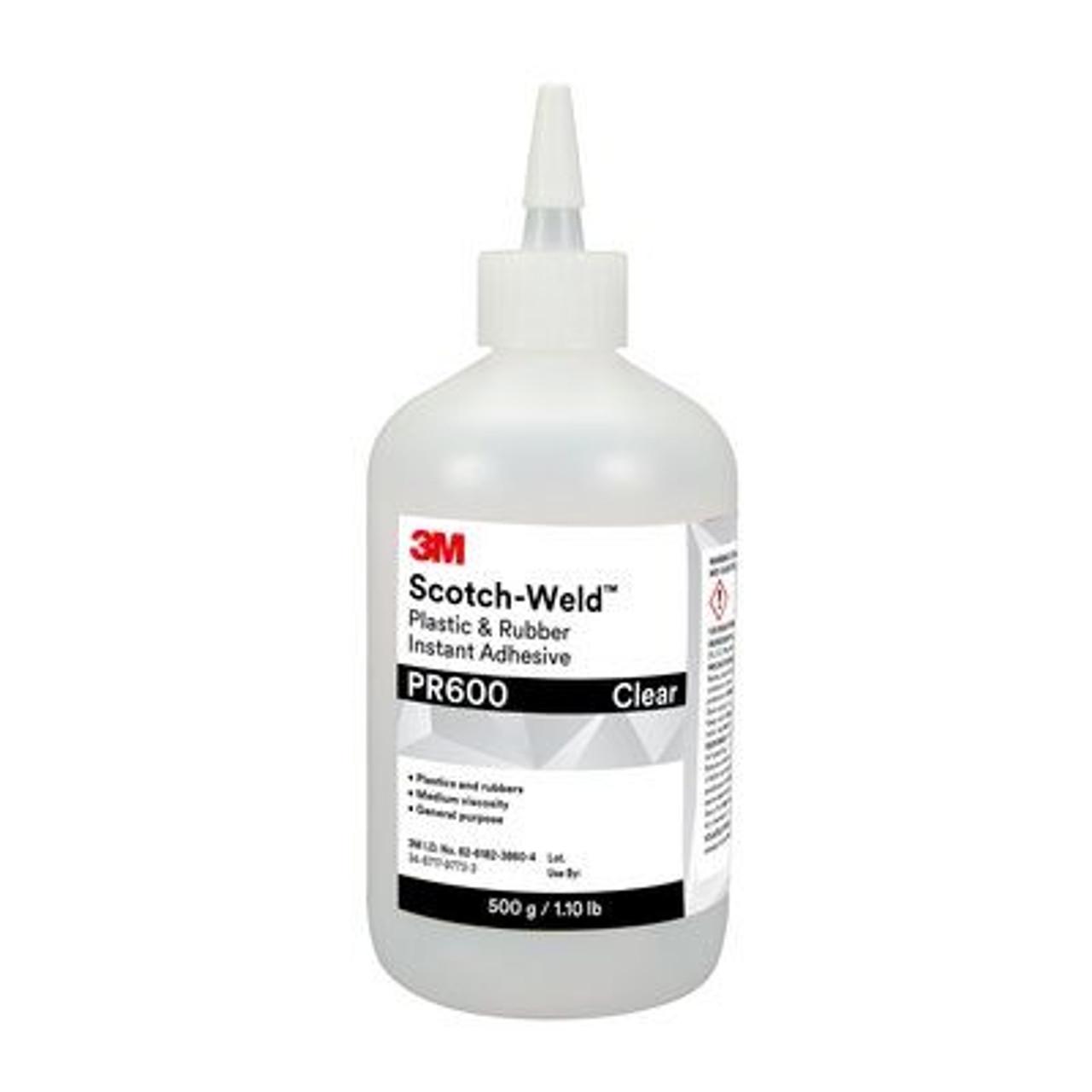3M™ Scotch-Weld™ Plastic & Rubber Instant Adhesive PR600, Clear, 500 Gram Bottle