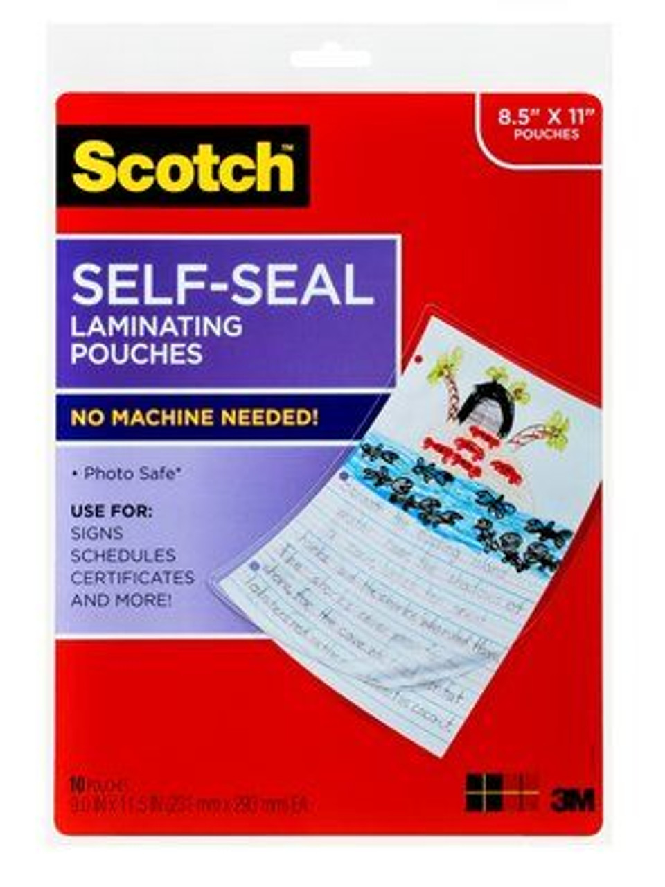 Scotch™ Self-Sealing Laminating Pouches LS854-10G, 9.0 in x 11.5 in x 0 in