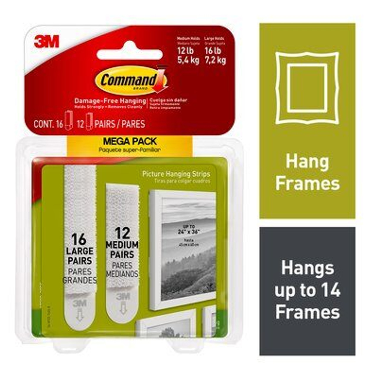 Command™ Large and Medium Picture Hanging Strips Mega-Pack, 17209-28ES