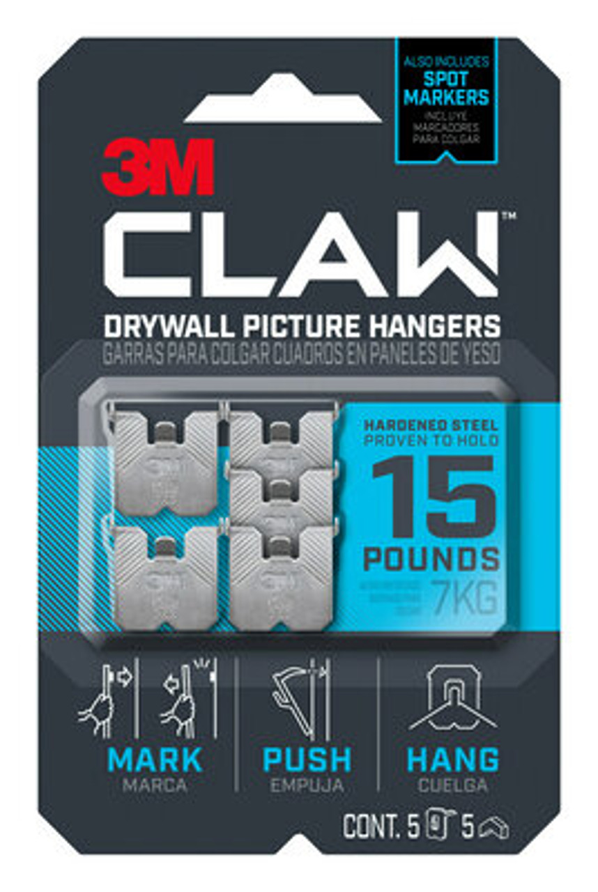 3M™ CLAW™ Drywall Picture Hanger 15 lb with Temporary Spot Marker 3PH15M-5ES, 5 hangers, 5 markers