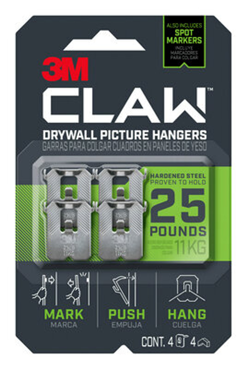 3M™ CLAW™ Drywall Picture Hanger 25 lb with Temporary Spot Marker 3PH25M-4ES, 4 hangers, 4 markers