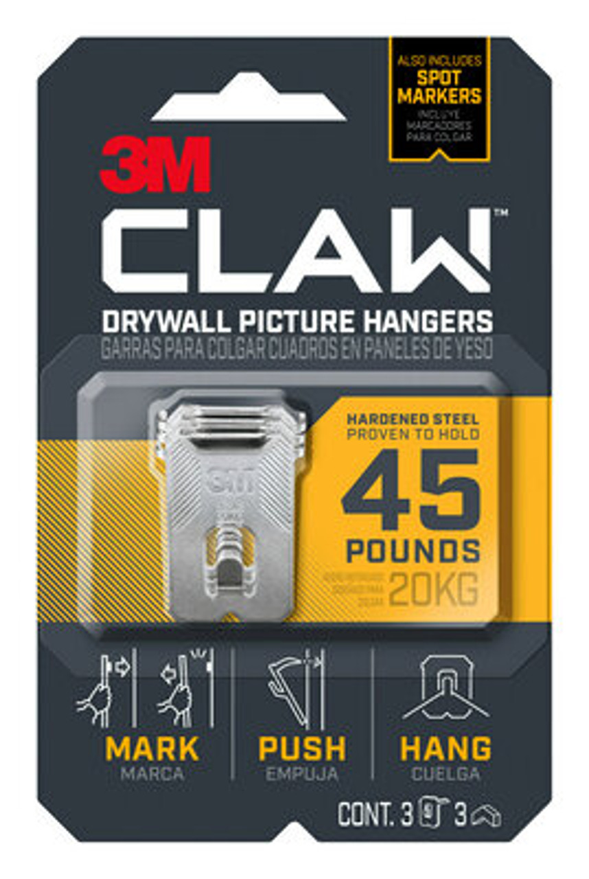 3M™ CLAW™ Drywall Picture Hanger 45 lb with Temporary Spot Marker 3PH45M-3ES, 3 hangers, 3 markers