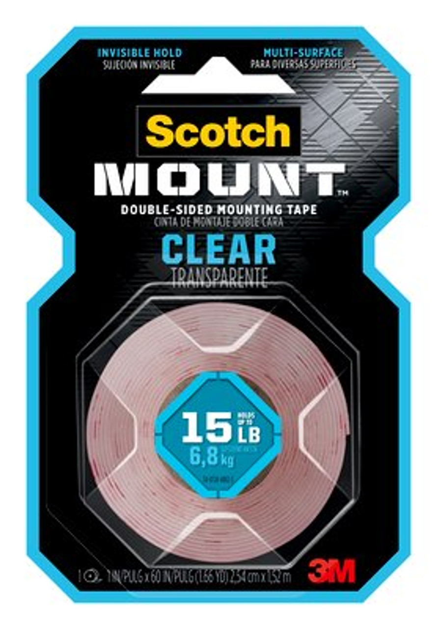 Scotch-Mount™ Clear Double-Sided Mounting Strips 410H-ST, 1 in x 3 in (2.54 cm x 7.62 cm)