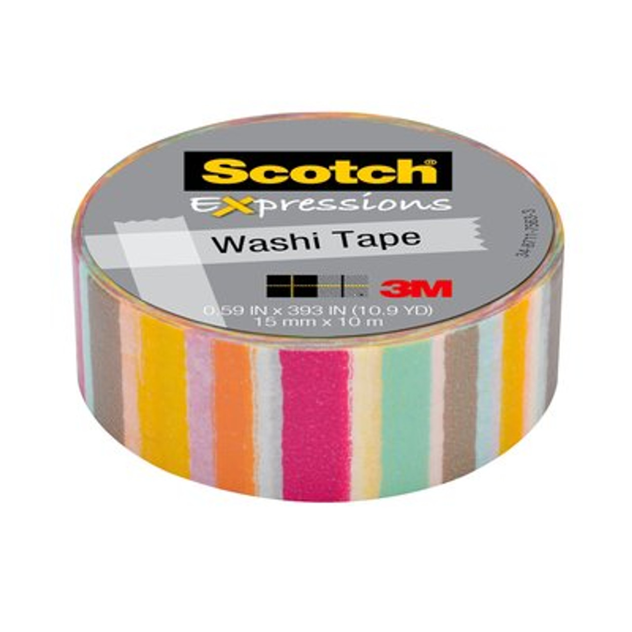 Scotch® Expressions Washi Tape C314-P37, .59 in x 393 in (15 mm x 10 m) Blurred Lines