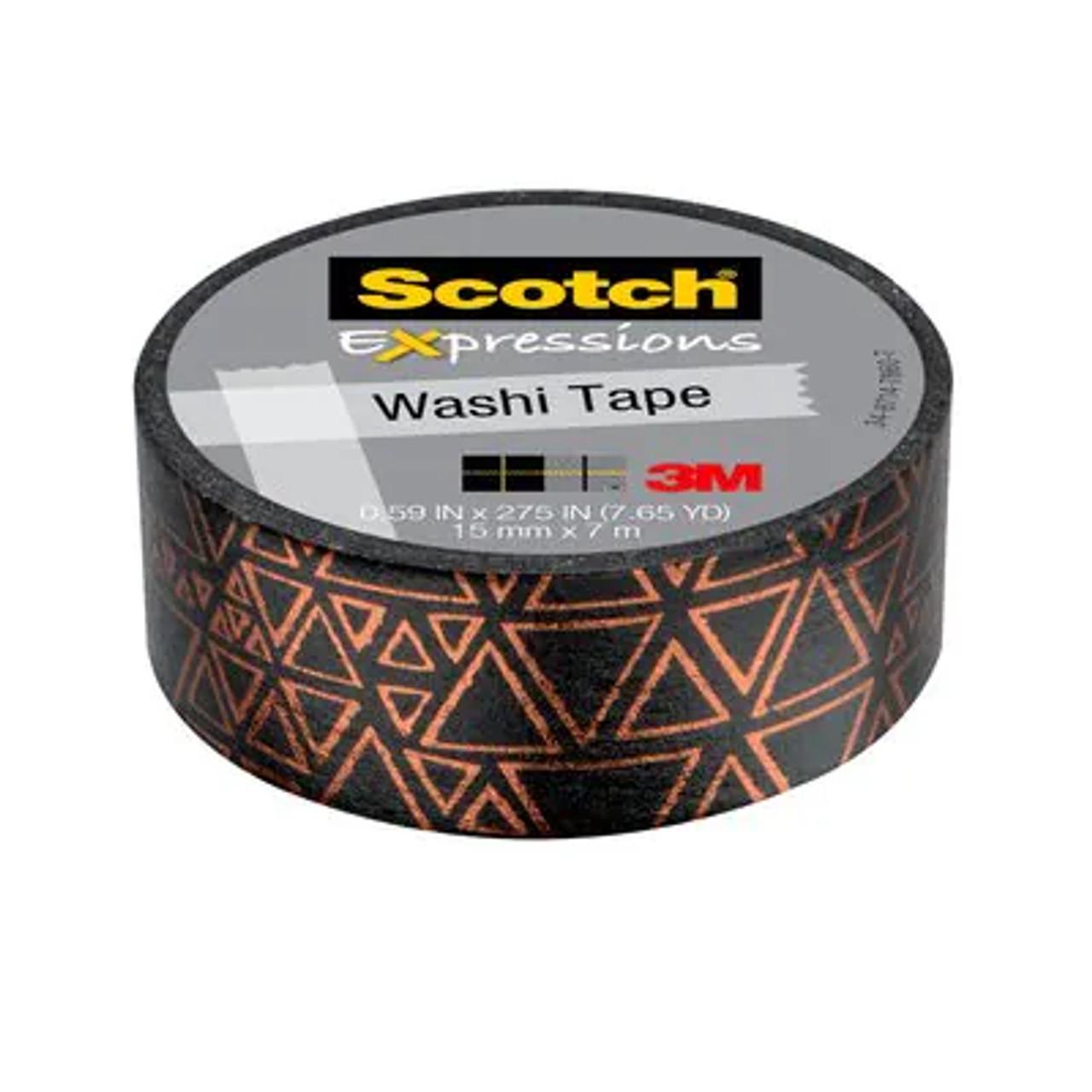 Scotch® Expressions Washi Tape C614-P4, .59 in x 275 in (15 mm x 7 m) Black and Copper Foil Triangles