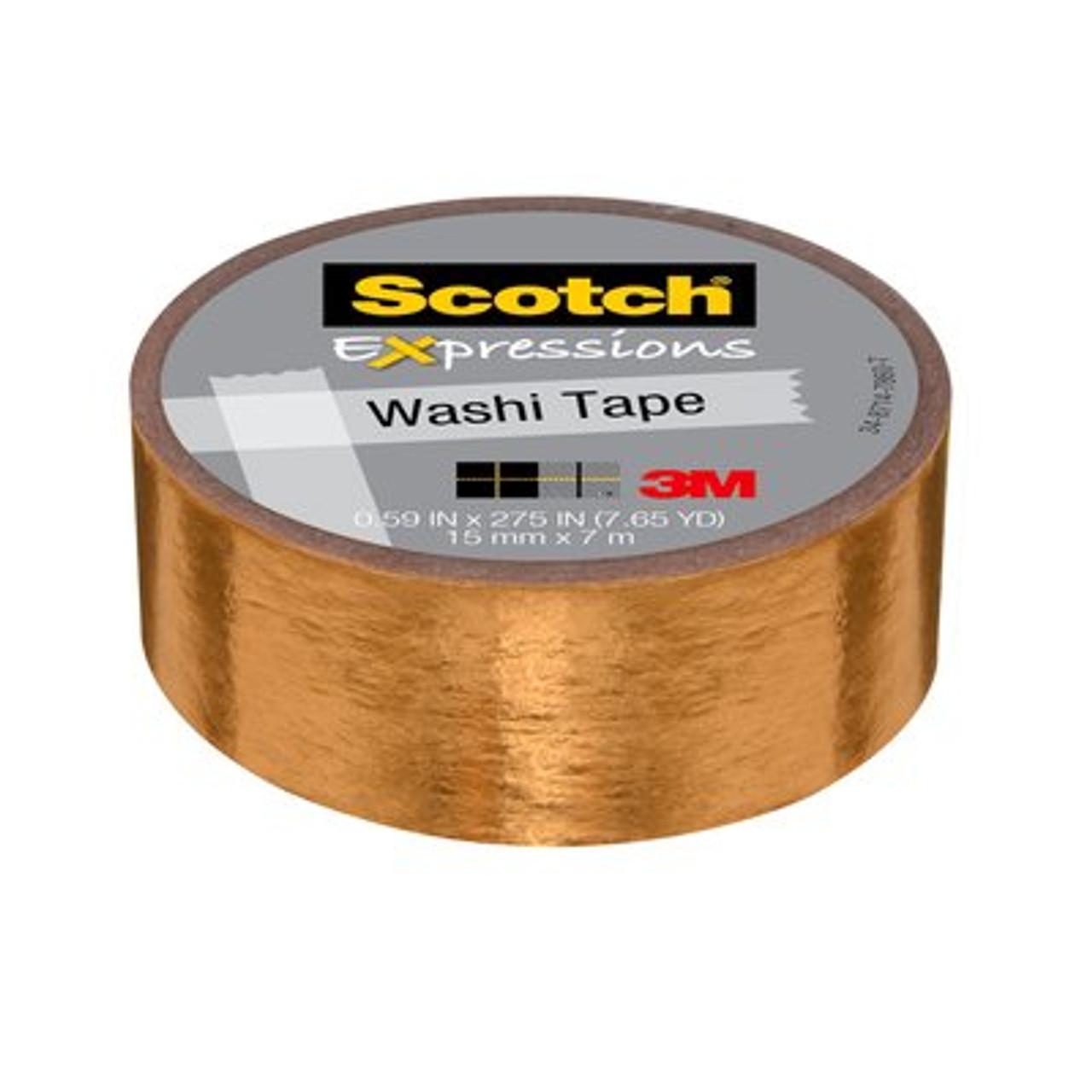 Scotch® Expressions Washi Tape C614-GLD, .59 in x 275 in (15 mm x 7 m) Gold Foil