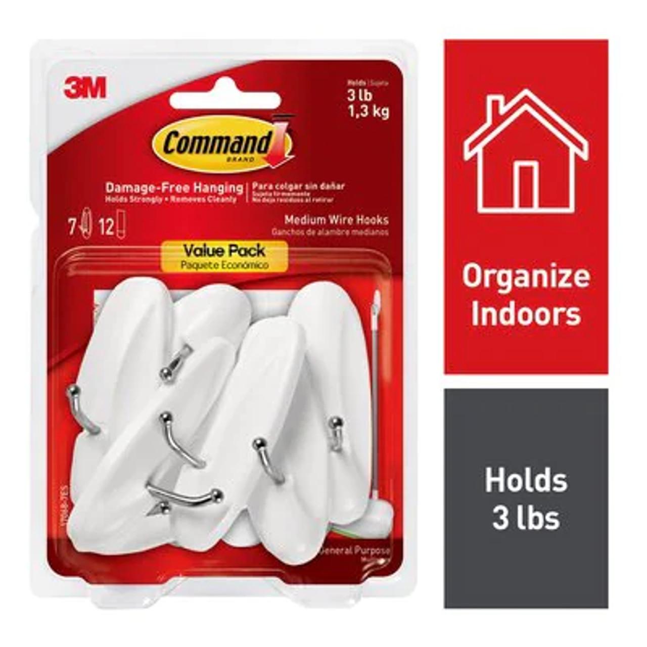 Command™ Medium Wire Hooks, Value Pack 7 hooks, 12 strips, 17068-7ES