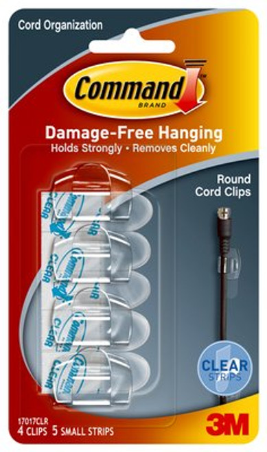 Command™ Clear Round Cord Clips with Clear Strips, 17017CLR - 4 clips/pack