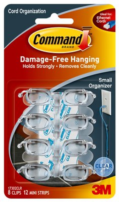 Command™ Clear Small Cord Clips w/Clear Strips, 17302CLR - 8 clips/pack