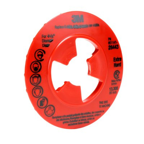 3M™ Disc Pad Face Plate Ribbed 80514, 7 in Extra Hard Red, 10 per case