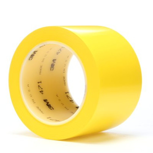 3M™ Vinyl Tape 471 Yellow, 3 in x 36 yd 5.2 mil, 12 per case Bulk