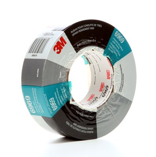 3M™ Extra Heavy Duty Duct Tape 6969 Silver, 48 mm x 54.8 m 10.7 mil, 24 individuallly wrapped rolls per case, Conveniently Packaged