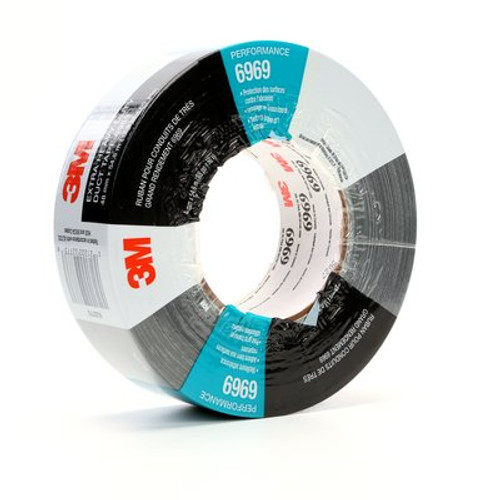 3M™ Extra Heavy Duty Duct Tape 6969 Black, 48 mm x 54.8 m 10.7 mil, 24 individuallly wrapped rolls per case, Conveniently Packaged