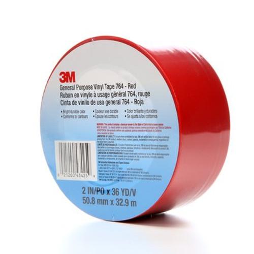 3M™ General Purpose Vinyl Tape 764 Red, 2 in x 36 yd 5.0 mil, 24 per case Bulk