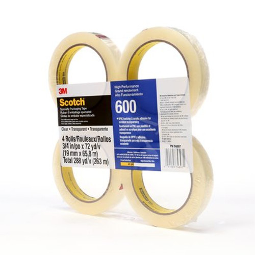 Scotch® Light Duty Packaging Tape 600 Clear High Clarity, 3/4 in x 72 yd, 4 rolls per pack 12 packs per case Conveniently Packaged