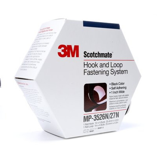 3M™ Fastener MP3526N/MP3527N Hook and Loop S030 Black, 1 in x 5 yd 0.15 in Engaged Thickness