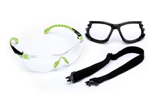 3M™ Solus™1000-Series Safety Glasses S1201SGAF-KT, Kit, Foam, Strap, Green/Black, Clear Scotchgard™ Anti-Fog Lens