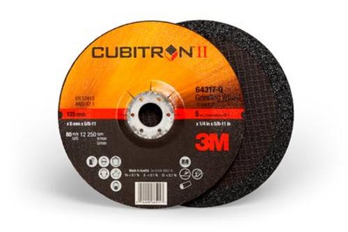 3M™ Cubitron™ II Depressed Center Grinding Wheel T27 Quick Change, (64317-Q), 5 in x 1/4 in x 5/8-11 in, 10 , 20 per case
