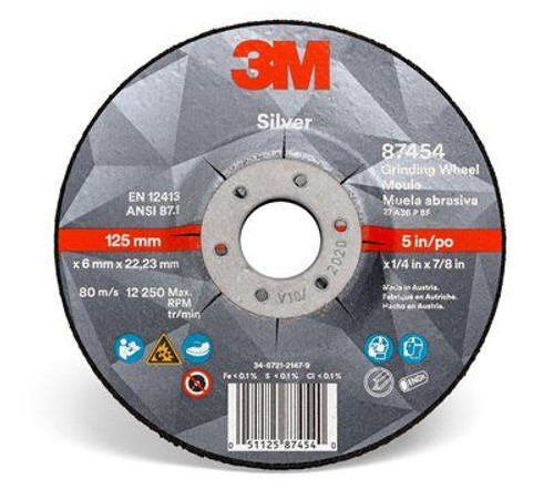 3M™ Silver Depressed Center Grinding Wheel 87446, T27 Quick Change, 5 x 1/4 x 5/8-11 in, 10  20 per case
