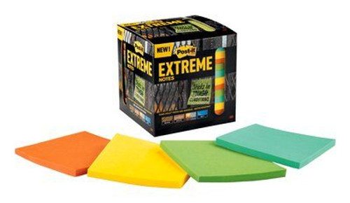 Post-it® Extreme Notes, 3 in. x 3 in., Orange, Green, Yellow, Mint, 12 Pads/Pack, 45 Sheets/Pad