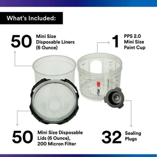 3M™ PPS™ Series 2.0 Spray Cup System Kit, 26114, Mini (6.8 fl oz, 200 mL), 200u Micron Filter, 1 kit per case