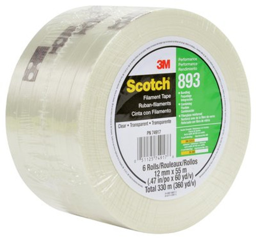 Scotch® Filament Tape 893 Clear, 12 mm x 55 m